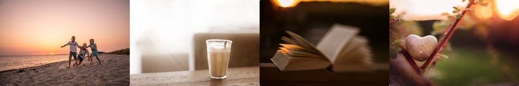 rennende jongens op het strand tijdens zonsondergang koffie en een boek en een hartje